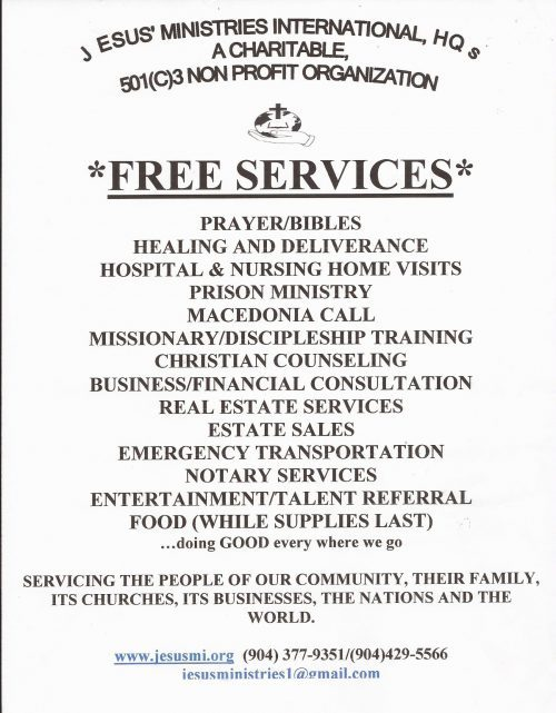 JESUS' MINISTRIES INTERNATIONAL, INC  – Services Provided