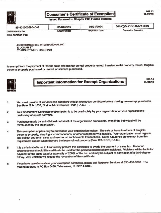 Tax Exempt 501c3